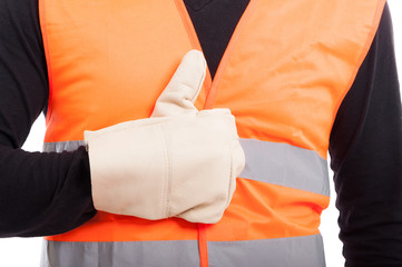 Hand with glove of engineer showing like sign