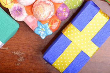 Arrangement of Gift Boxes and Decorated Easter Eggs