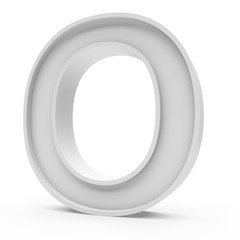 3d Rendering grey material letter O isolated white background