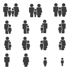 Family Icons Set. Vector . Flat Sign for using in the App, UI, Art, Logo, Web.