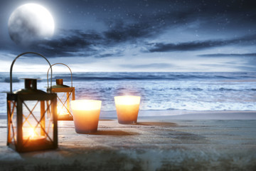 lamp and sea at night
