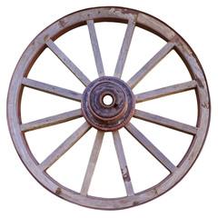 roue en bois, fond blanc
