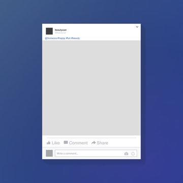 Social network photo frame vector illustration. Facebook. Mock up Vector illustration