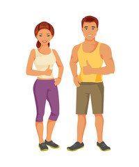 Sports man and woman. Vector illustration