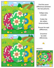 Visual puzzle: Find the seven differences between the two pictures with painted eggs and rural scene. Answer included.
