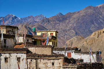 Traditional tibetan houses in a rural village Lupra in Himalayas, Nepal