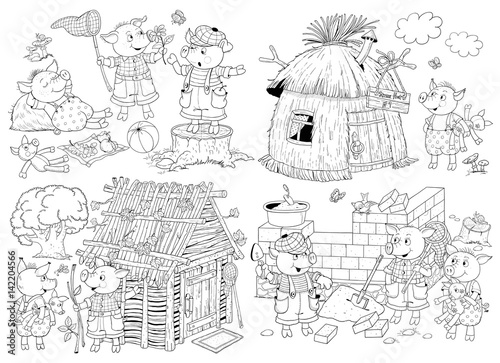 The three little pigs. Fairy tale. Coloring page. Coloring book ...