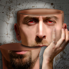 Surreal portrait of bearded man. Human head divided on two parts on stucco wall background