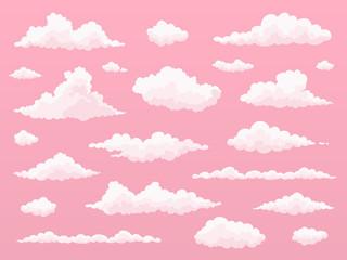 Cartoon cloud set.  Pink clouds. Pink sunset, dawn cloud sky. Flat vector illustration.