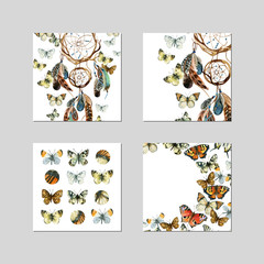 Banner template design with watercolor dream catcher and butterfly.