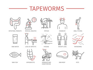Tapeworms. Symptoms, Treatment. Line icons set.