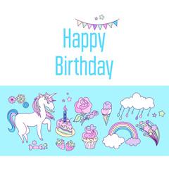 Unicorn holiday card with cake, sweets, flower, strawberry, ice-cream