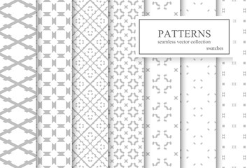 Collection of ornamental geometric seamless patterns.
