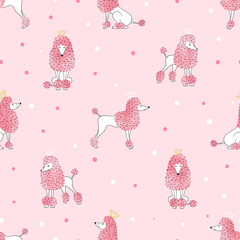 Seamless poodle dog pattern in pink color. Vector background with cute watercolor dogs for kids design.
