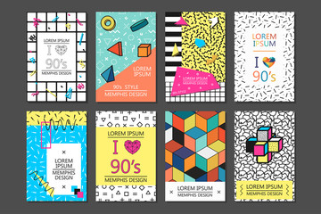 Memphis cards with geometric elements.
