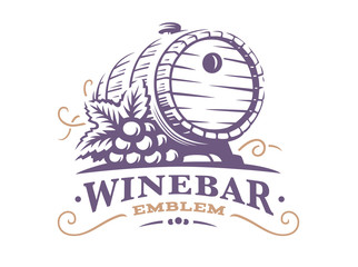Wine barrel logo - vector illustration, emblem design on white background