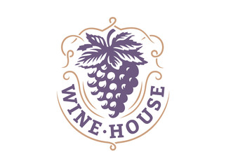 Grape logo - vector illustration, emblem design on white background