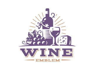 Bottle of wine and grapes logo - vector illustration, emblem design on white background