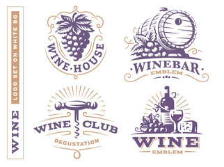 Wine set logo - vector illustrations, emblems design on white background
