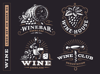 Wine set logo - vector illustrations, emblems design on dark background