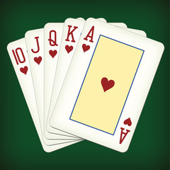 Royal Flush of hearts - playing cards vector illustration