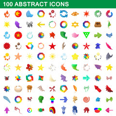 100 abstract icons set, cartoon style