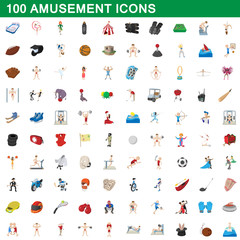 100 amusement icons set, cartoon style