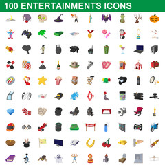 100 entertainments icons set, cartoon style
