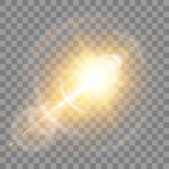 Obraz Shining vector golden sun with light effects.Sun. - fototapety do salonu