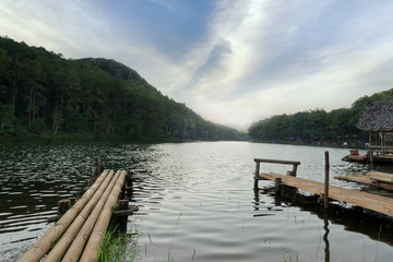 Pang Ung lake in the morning time with sun ray and cloudy sky (Pang Tong reservoir), Mae Hong Son province, Thailand