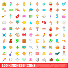 100 kindness icons set, cartoon style