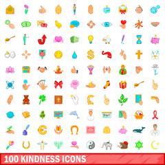 100 kindness icons set, cartoon style