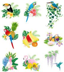 鳥と花・果物のアイコン・マーク