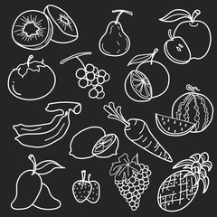 white fruit line draw abstract vector set design