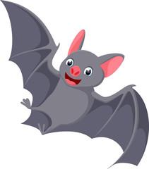 Happy flying bat cartoon