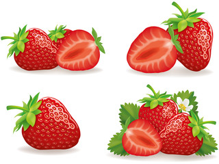 set of different strawberry groups