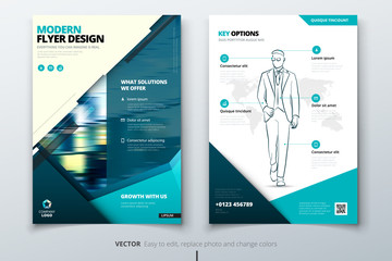 Flyer design. Teal Corporate business template for brochure, report, catalog, magazine. Layout with modern square photo and abstract triangle background. Creative vector concept