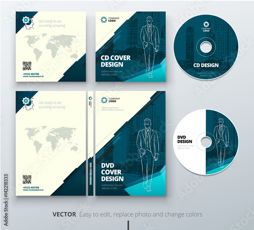 """CD envelope, DVD case design. Teal Corporate business ..."