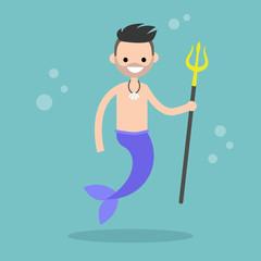 Fairytale merman holding a trident / flat editable vector illustration, clip art