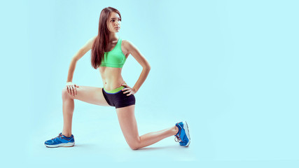 Sports exercises lifestyle, woman in sportswear at gym