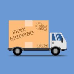 Free shipping vector illustration with truck and package