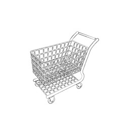 Empty shopping cart. Isolated on white background. Sketch illustration.