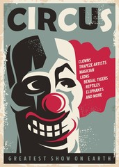 Retro circus poster design template