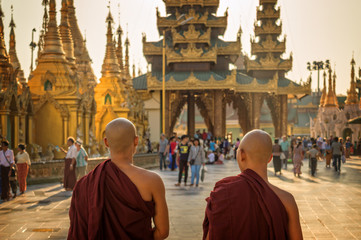 Monks at Shwedagon Pagoda in Yangon, Burma Myanmar