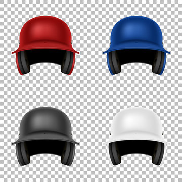Realistic vector classic baseball helmet set. Isolated. Design template in front view. EPS10.