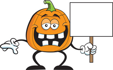 Cartoon illustration of a pumpkin holding a sign.