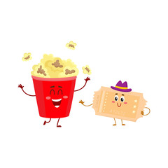 Cinema popcorn and vintage movie ticket characters with smiling human faces, cartoon vector illustration isolated on white background. Popcorn bucket and movie ticket characters, mascots, symbols