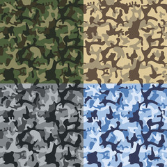Pixel camo seamless pattern Big set. Green, blue, sand, gray camouflages. Vector fabric textile print designs.