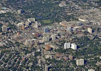 aerial view of the Victoria Park area in  Kitchener Waterloo, Ontario Canada
