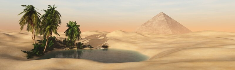 Panorama of a sandy desert with an oasis and a pyramid